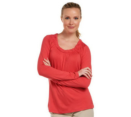 Liz Claiborne New York Gathered Scoopneck T-Shirt