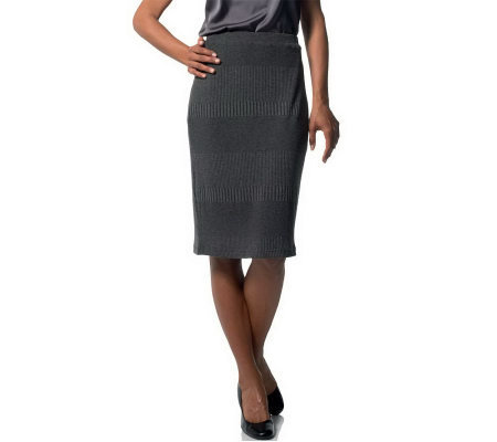 Joan Rivers Wardrobe Builders Textured Knit Slim Skirt