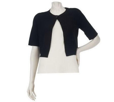Linea by Louis Dell'Olio Crew Neck Elbow Sleeve Cropped Bolero
