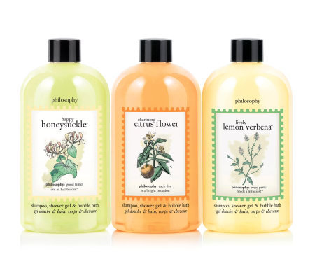 philosophy fresh & floral trio of 16 oz. 3-in-1 gels