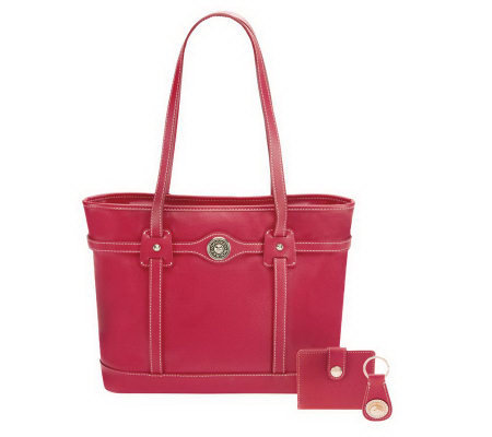 Dooney & Bourke Pave Leather Logo Tote w/ Accessories