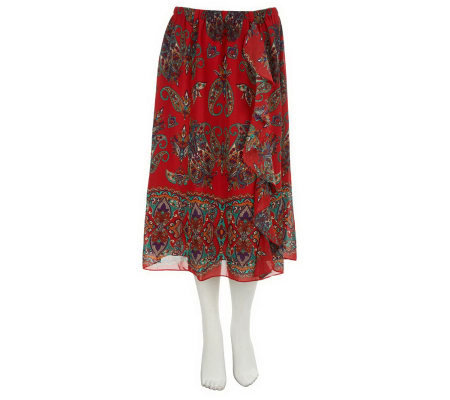 Linea by Louis Dell'Olio Paisley Border Print Skirt w/Ruffle