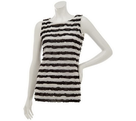 Susan Graver Knit Striped Ruffle Tank Top