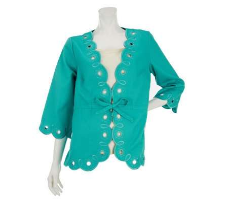 Bob Mackie's Scallop Hem Embroidered Jacket with Drawstring