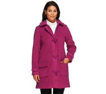 """As Is"" Denim & Co. Micro- Fleece Lined Toggle Coat w/ Removable hood - A235860"