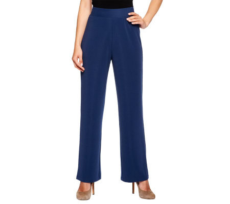 Susan Graver Lustra Knit Regular Wide Waistband Pants