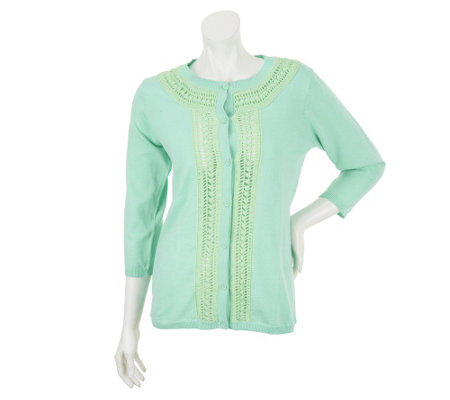 Liz Claiborne New York 3/4 Sleeve Cardigan with Crochet Detail