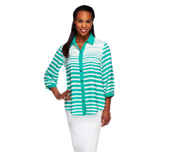 Susan Graver Printed Stripe 3/4 Sleeve Button Front Blouse - A253260