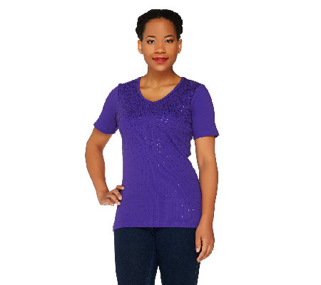 Quacker Factory Short Sleeve V-neck Mini Sequin Rib T-shirt