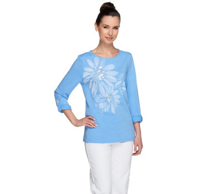 Susan Graver Weekend French Terry Top with Roll Tab Sleeves