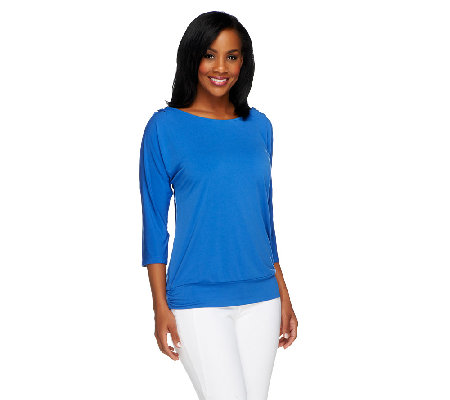 Susan Graver Liquid Knit Scoop Neck Split Sleeve Top