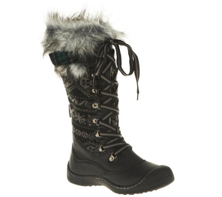 MUK LUKS Gwen Lace-Up Knit Snow Boots with Thinsulate
