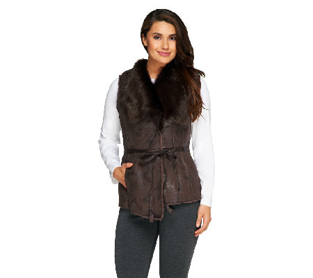 Dennis Basso Faux Fur and Faux Suede Draped Collar Vest