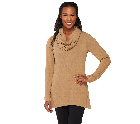 Legacy Sweater Jersey Long Sleeve Tunic with Removable Scarf