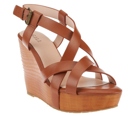 """As Is"" G.I.L.I Brenda Leather Multi Strap Criss Cross Wedges"