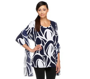 """As Is"" Susan Graver Printed Liquid Knit 3/4 Sleeve Tunic - A260560"