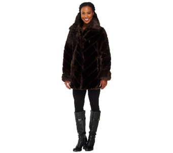 Dennis Basso Faux Sheared Mink Coat with Chevron Detail - A261160