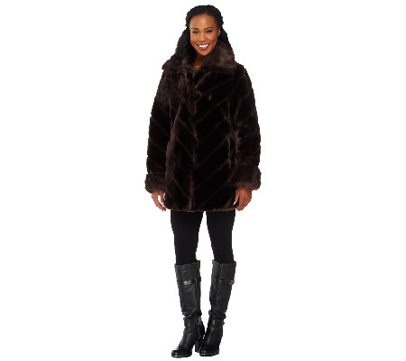 Dennis Basso Faux Sheared Mink Coat with Chevron Detail