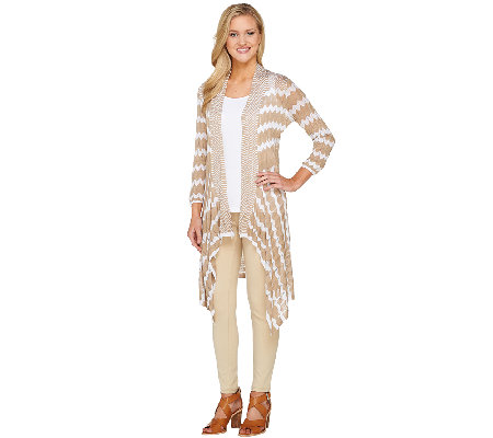 Attitudes by Renee Open Front Chevron Printed Knit Cardigan