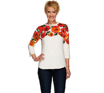 Isaac Mizrahi Live! Engineered Floral 3/4 Sleeve T-Shirt - A266960