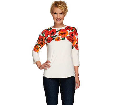 Isaac Mizrahi Live! Engineered Floral 3/4 Sleeve T-Shirt