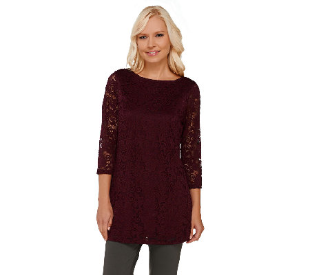 Liz Claiborne New York Bateau Neck Lace Tunic