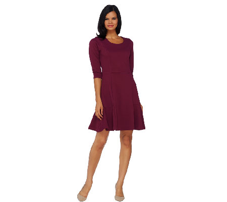 Isaac Mizrahi Live! Textured Knit Fluted Hem Dress