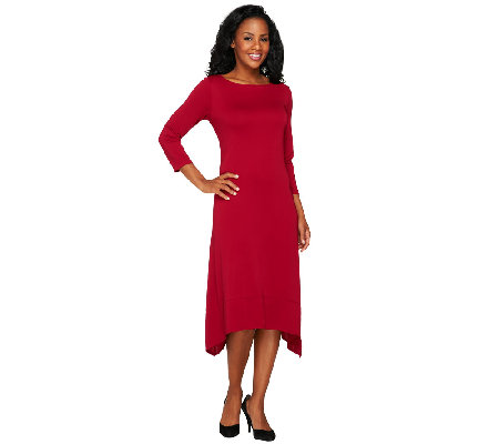 """As Is"" Susan Graver Premier Knit Bateau Neck Dress with Asymmetric Hem"
