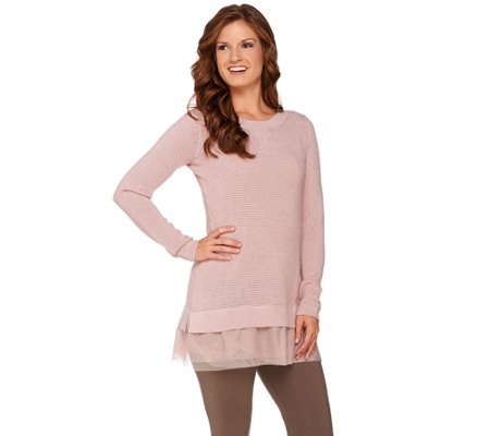 LOGO by Lori Goldstein Cotton Cashmere Waffle Sweater with Tulle Hem
