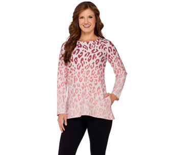 LOGO Lounge by Lori Goldstein French Terry Ombre Animal Print Top - A269960
