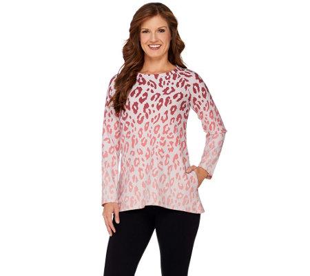 LOGO Lounge by Lori Goldstein French Terry Ombre Animal Print Top