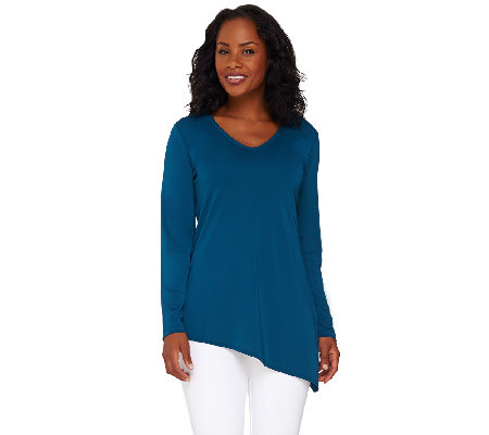 Susan Graver Premier Knit V-Neck Tunic with Asymmetric Hem