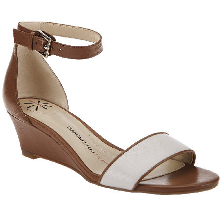 """As Is"" Isaac Mizrahi Live! Ankle Strap Low Wedge Leather Sandals"