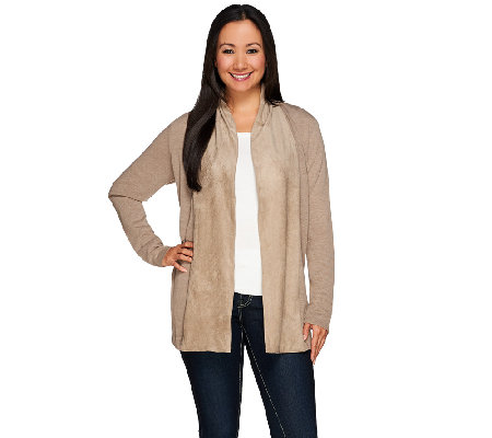 Kelly by Clinton Kelly Cardigan with Faux Suede Shawl Collar