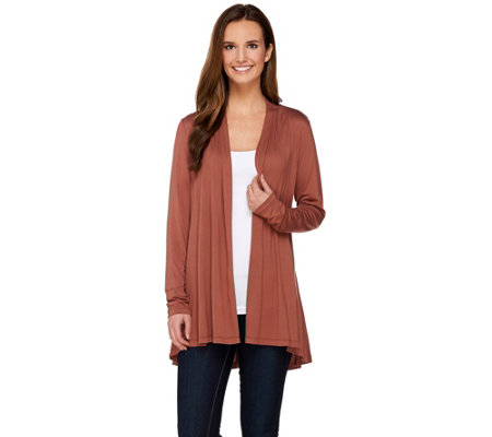 LOGO Layers by Lori Goldstein Long Sleeve Open Front Knit Cardigan