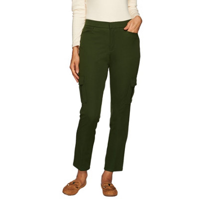 Isaac Mizrahi Live! Petite 24/7 Stretch Cargo Ankle Pants