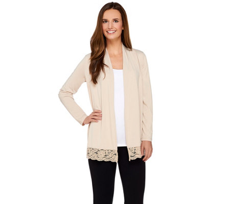 Susan Graver Liquid Knit Long Sleeve Cardigan with Lace Trim