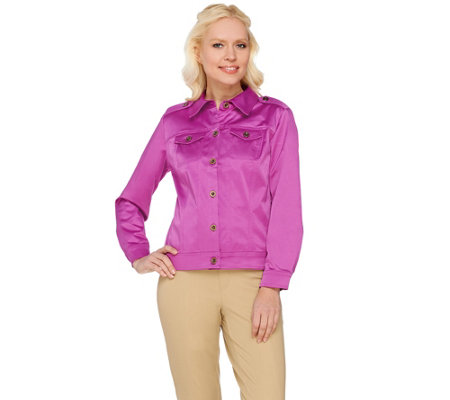 Joan Rivers Long Sleeve Cotton Sateen Jacket