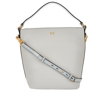 H by Halston Pebble Leather Crossbody Bucket Handbag - A274060
