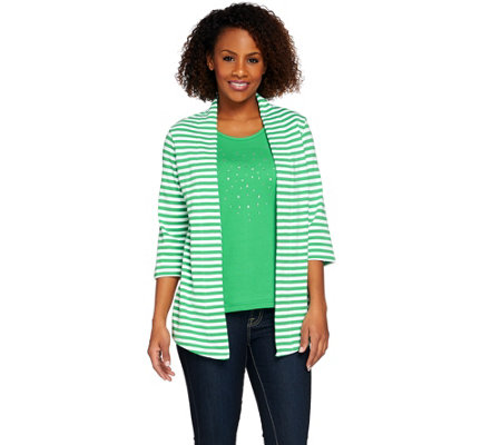 Quacker Factory 3/4 Sleeve Striped Knit Duet