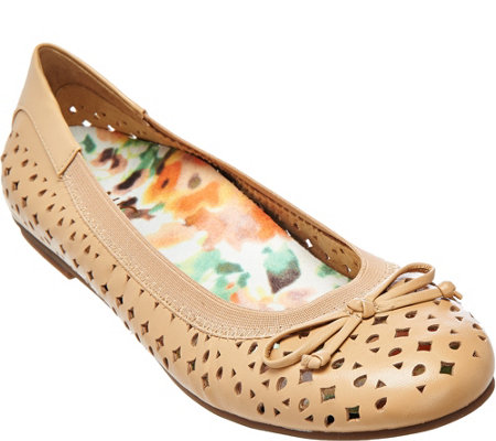 Vionic Orthotic Leather Perforated Flats - Surin