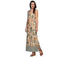 Denim & Co. Regular Tribal Border Printed Maxi Dress - A275260