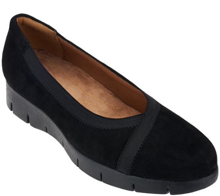 """As Is"" Clarks Artisan Nubuck Leather Slip-On Shoes - Daelyn Hill"