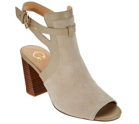 C. Wonder Suede Peep Toe Booties w/ Buckle Detail - Gemma