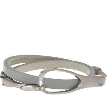 H by Halston Adjustable Leather Belt with Hook Closure - A276060