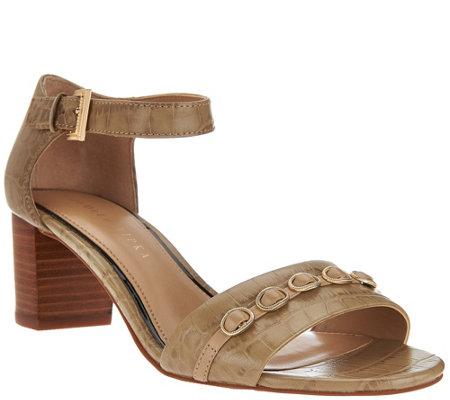 Judith Ripka Leather Block Heel Sandals w/ Adj Ankle Strap - Isabella
