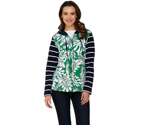Susan Graver Weekend Printed French Terry Zip Front Hooded Jacket