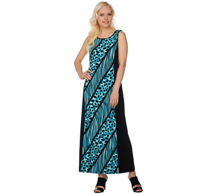Bob Mackie's Printed Knit Dress with Solid Side Panels