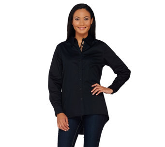 """As Is"" Susan Graver Stretch Cotton Button Front Shirt w/ Printed Placket - A277260"
