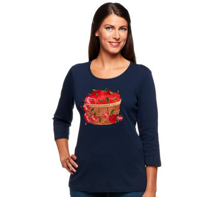 """As Is"" Quacker Factory 3/4 Sleeve Scoop Neck Harvest T-Shirt"
